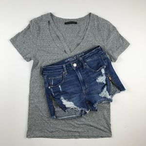 AEO Super Hi-Rise Shortie Zipper denim shorts